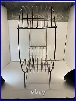 Vintage MID 50s Century Modern Wire Metal Atomic Round Plant Stand Original