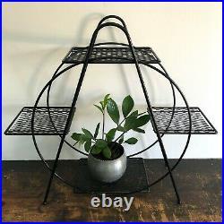 Vintage MID-CENTURY Modern ROUND Tiered WIRE Hoop PLANT STAND Shelf MCM Circle