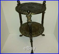 Vintage Metal Brass Plant Stand 2 Tier Cherub Claw Feet Art Nouveau/Mid century