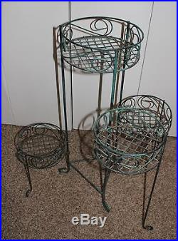 Vintage Metal Green Ornate Wrought Iron 4 Tier Rotating Plant Stand Rack
