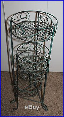 Vintage Metal Green Ornate Wrought Iron 4 Tier Rotating