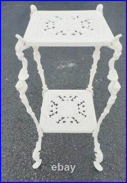 Vintage Metal Plant Stand Painted White Indoor Outdoor Ornate 28.5 Tall