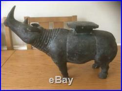 Vintage Metal Rhinoceros Plant Stand/door Stop/statue Possibly Indian