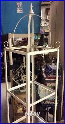 Vintage Metal/Wrought Iron 3 Glass shelves etagere curio plant stand