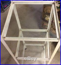 Vintage Metal/Wrought Iron 3 Glass shelves etagere curio plant stand Shop/AC280