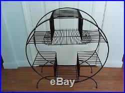 Vintage Mid Century ATOMIC 4 Tier Metal Wire Round Plant Stand
