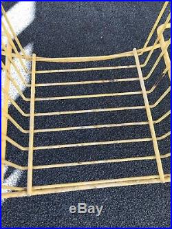 Vintage Mid Century ATOMIC 4 Tier Metal Wire Round Plant Stand ULTRA RARE YELLOW