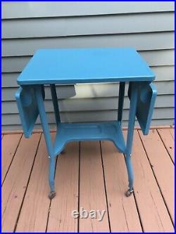 Vintage Mid Century Drop Leaf Metal Typewriter Table withWooden Wheels Plant Stand