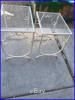 Vintage Mid Century Metal Patio Table Plant Stand Set True Vintage