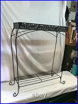 Vintage Mid Century Modern 2 Tier Wire Metal Plant Stand 30in x 24in x 9in