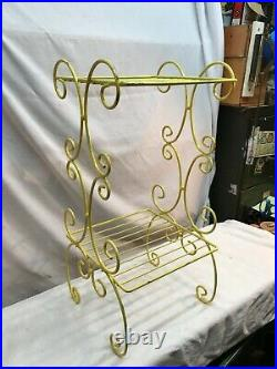 Vintage Mid Century Modern 2 Tier Wire Metal Yellow Atomic Plant Stand