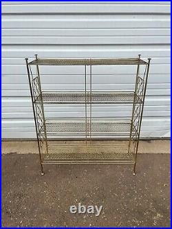 Vintage Mid Century Modern 4-Tier Wire Metal Plant Stand Bookshelf
