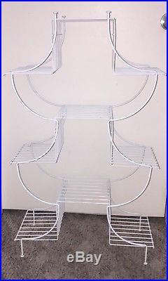 Vintage Mid Century Modern Atomic White Metal Wire Multi Tier Plant Stand Shelf
