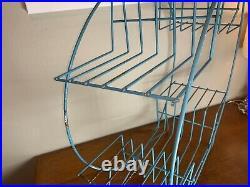 Vintage Mid Century Modern Blue Wire Metal Round Atomic Plant Stand