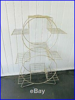 Vintage Mid Century Modern Metal Wire Plant Stand 6 Tier Atomic Circles