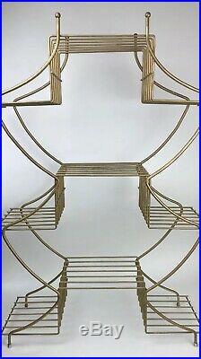 Vintage Mid Century Modern Metal Wire Plant Stand 9 Tier Atomic