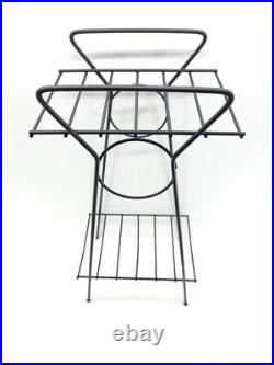 Vintage Mid Century Modern Telephone Metal Art Wire Table Stand Plant Black