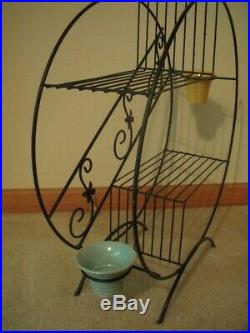 Vintage Mid-Century Modern Wire Metal Round Plant Stand with 2 California Pots