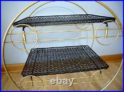 Vintage Mid century MCM Black Wired Metal Plant Circular stand Eames Era Atomic