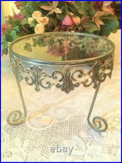 Vintage Ornate Metal & Glass Cake Stand Plant Stand Centerpiece