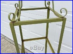 Vintage Ornate metal 3 shelf etagere curio plant stand glass country cottage sha