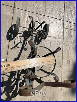 Vintage PLANT STAND Tricycle 3 Wheels (all Roll) Wrought Iron Metal Planter