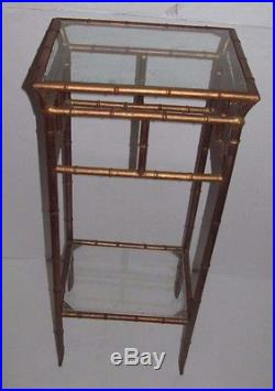 Vintage Phyllis Morris Style Chinese Chippendale Faux Bamboo Metal Plant Stand