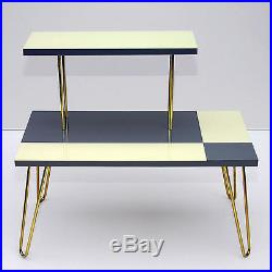 Vintage Plant Stand Table Shelf Hairpin Legs Gray Beige Mid-Century Modern 50s