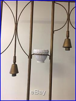 Vintage Retro Indoor Light Lamp Plant Shelf Gold Stand 50s Mid-Century Modern