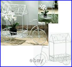 Vintage Style French Country White Bicycle Plant Stand Covered Cart House Nib