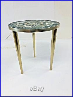 Vintage TILE TOP SIDE TABLE round mid century modern green gold plant stand 50s