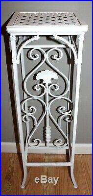 Vintage Tall Ornate Lattice Top Heavy Metal Wrought Iron 31 Plant Stand Holder