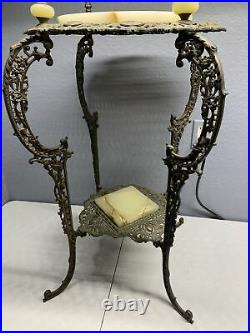 Vintage Victorian Metal & Marble Double Plant Stand (beautiful)