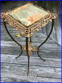 Vintage Victorian Ornate Cast Metal Green Onyx Plant Fern Stand Oil Lamp Table
