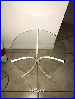 Vintage White Metal Bamboo Side Table Accent Plant Stand White 17.25H Glass Top