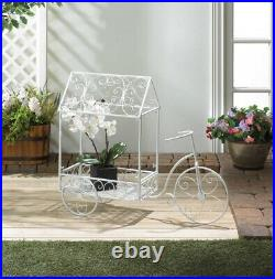 Vintage White Metal Bicycle Cart Plant Stand