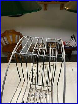 Vintage Wire Plant Stand Atomic Metal Art Deco Round 4 Tier 6 Shelfs