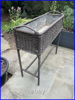 Vintage Woven Wicker Plant Stand with Metal Insert