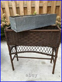 Vintage Woven Wicker Plant Stand with Metal Insert Planter Antique