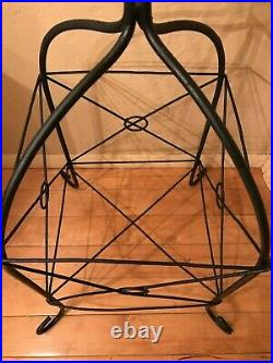 Vintage Wrought Iron Bowl Basket Plant Stand Holder 37