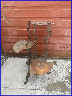 Vintage Wrought Iron Cast Metal Garden Interior Plant Stand Planter Beautiful