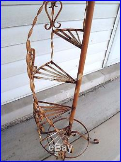Vintage Wrought Iron Plant Stand With 5 Spiral Steps 51 Tall