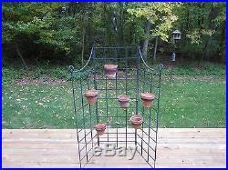 Vintage Wrought Iron Six Pot Plant Stand Garden Screen Trellis Planter Fence