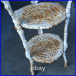 Vintage cast iron white plant stand stool rounded tiers metal garden organizer