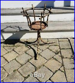 Vintage faux Bamboo Plant Holder Pot Stand Boho Chic RARE Spain mcm metal