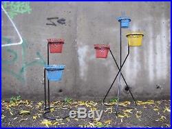 Vintage french Mathieu Mategot Mid Century Modern flower plant stand set n2