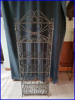 Vintage heavy ornate twisted metal rod four tier folding plant stand 60