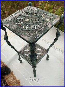 Vintage pedestal plant metal stand used cast aluminum