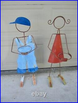 Vintage whimsical boy girl iron metal garden yard planters plant stands
