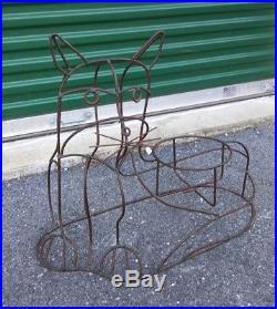 Vntg MID CENTURY iron wire WEINBERG era garden CAT planter PLANT STAND 60s